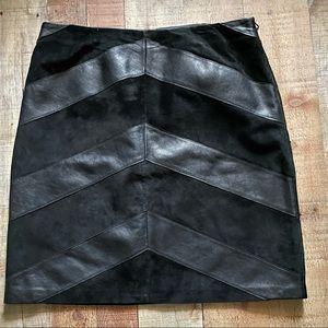 Alfani Genuine Leather Soft Suede & Leather Skirt